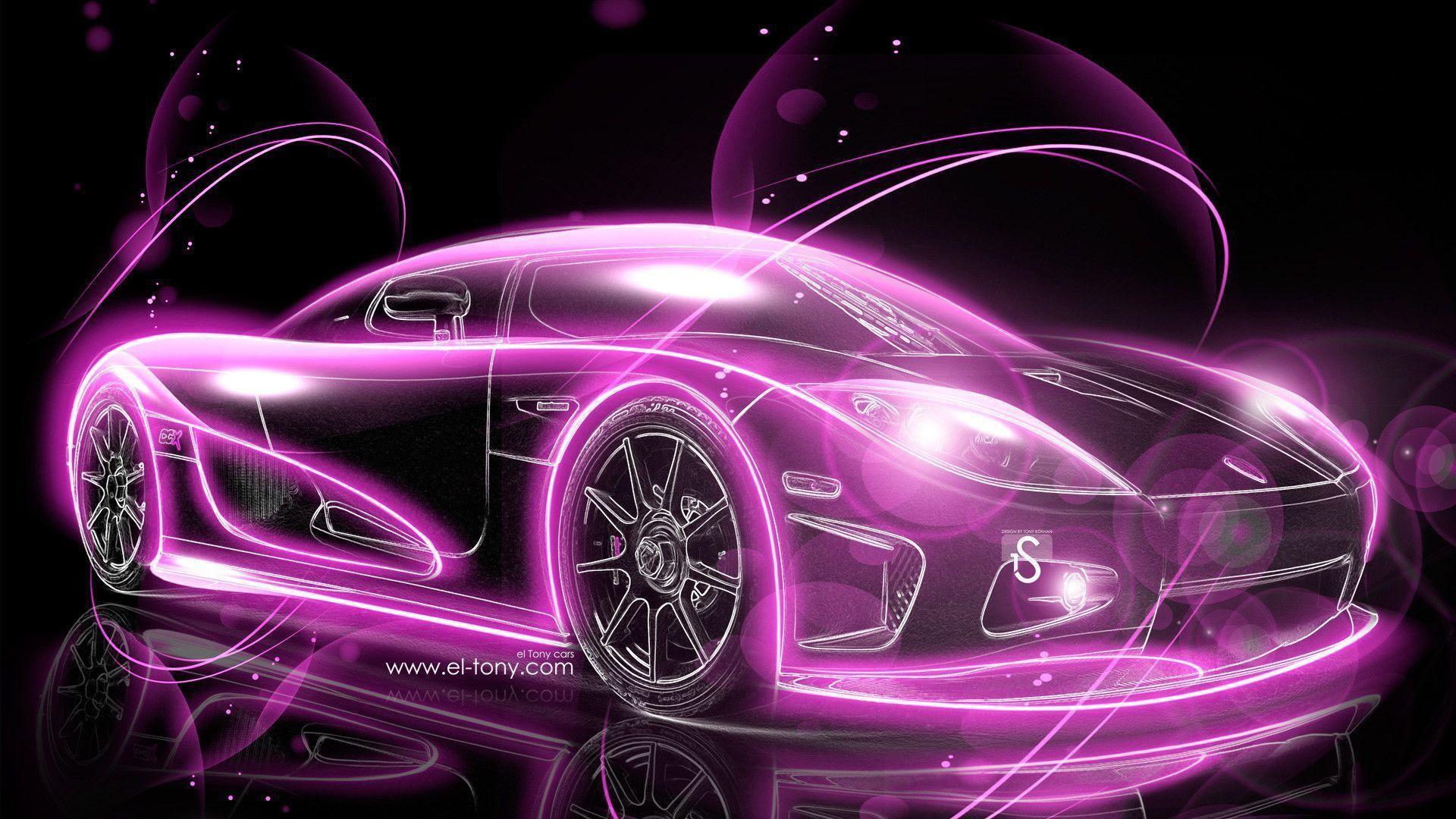 Pink Sport Car Wallpaper