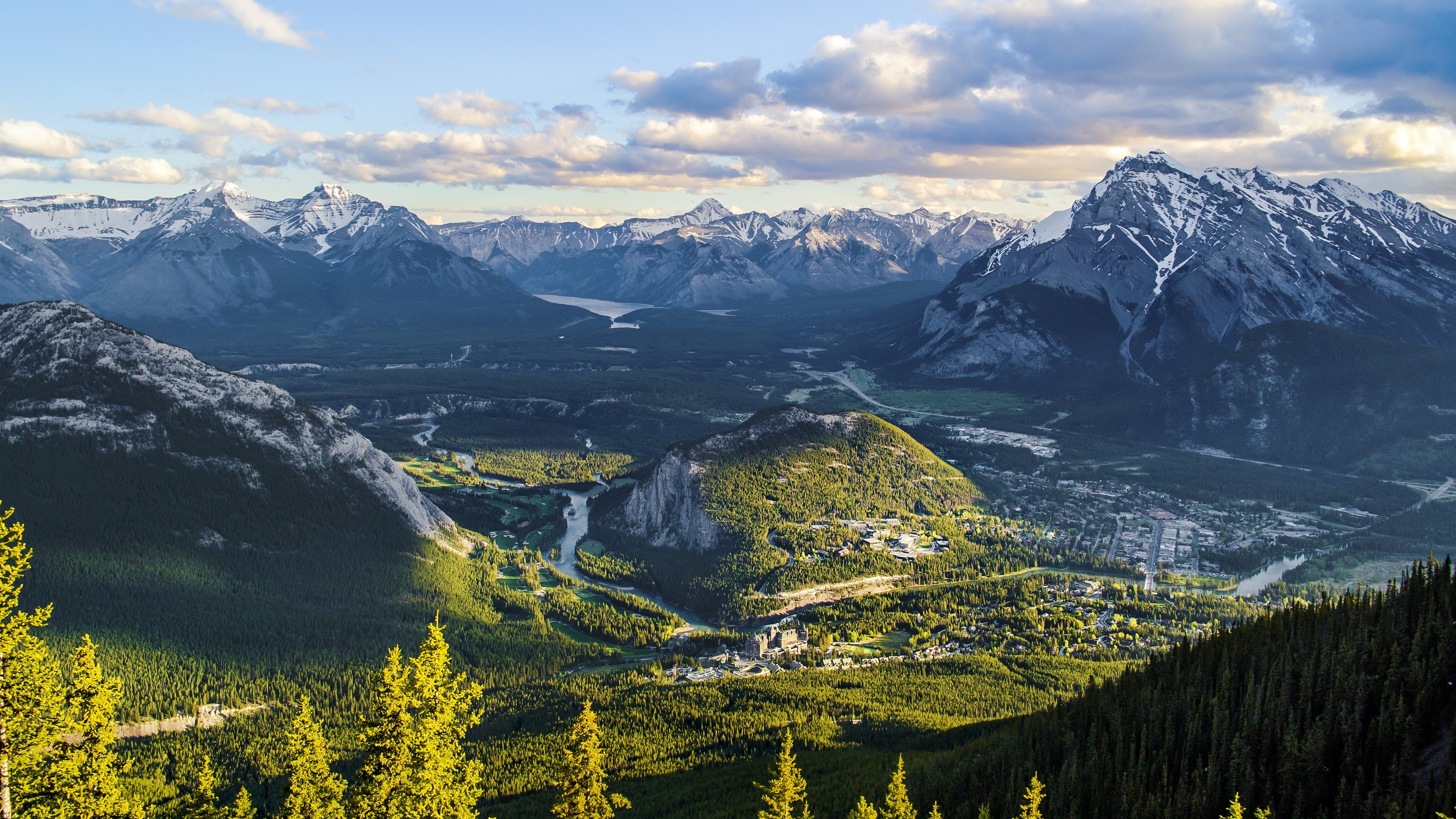 Landscape Banff Banff National Park Wallpaper And Background - Landscape Oil Painting On Canvas , HD Wallpaper & Backgrounds