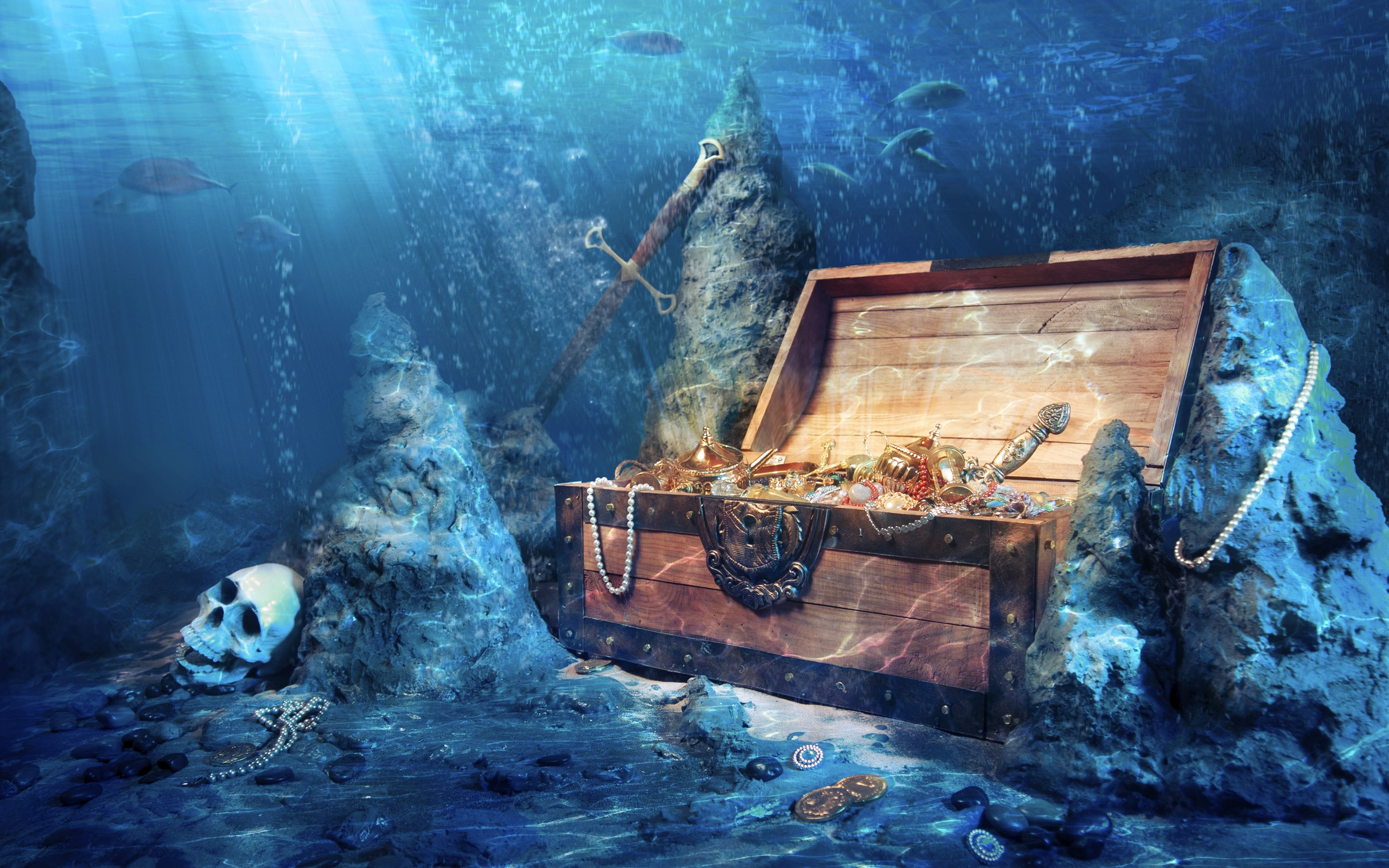 Download This Wallpaper Treasure Chest Under The Sea 1120875