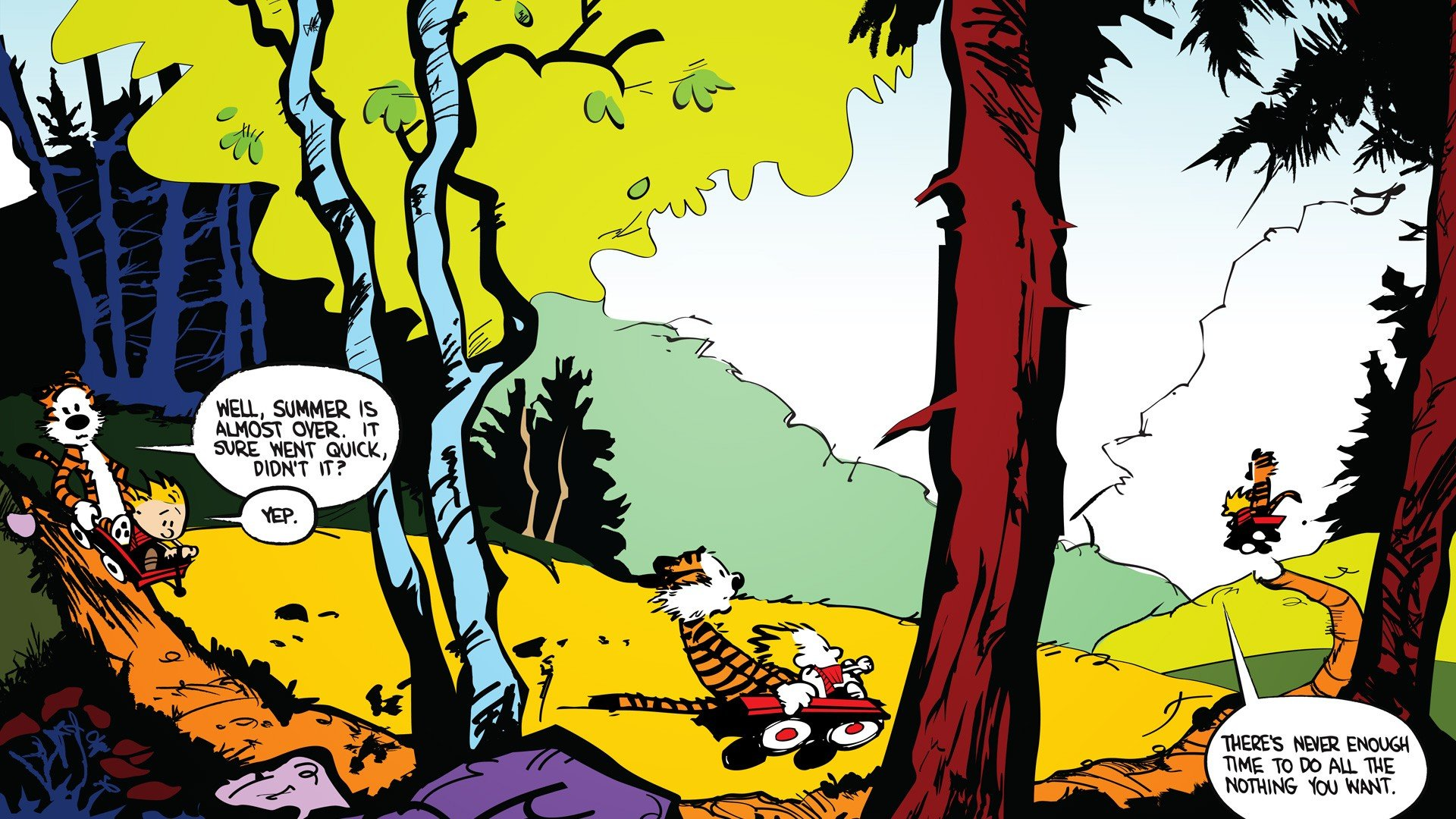 Calvin And Hobbes Philosophy Colorful Wallpaper And
