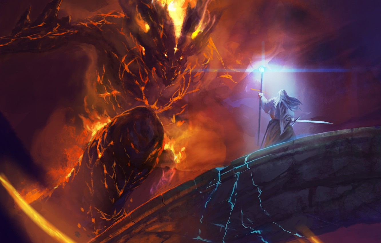 Photo Wallpaper Bridge, Balrog, Fight, Gandalf, Lord - Lord Of The Rings Balrog , HD Wallpaper & Backgrounds