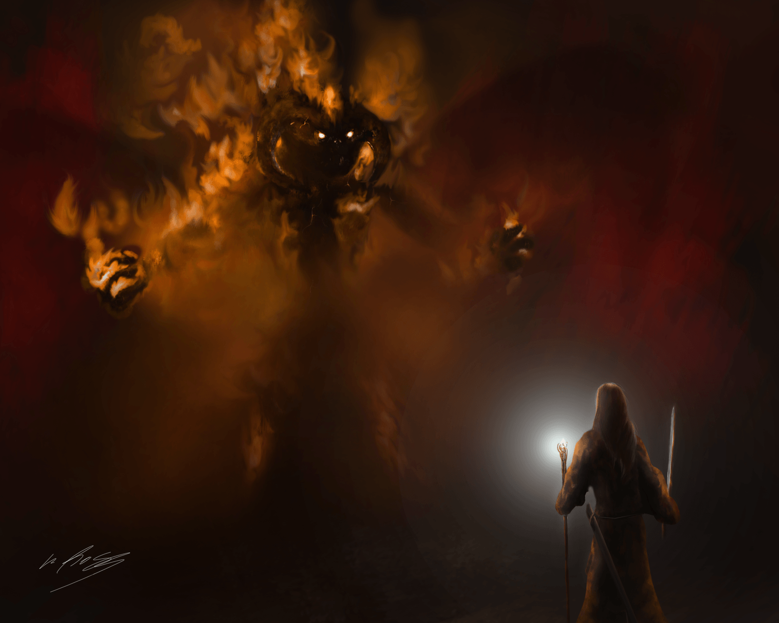 Lord Of The Rings Wallpapers Gandalf Vs Balrog Fellowship Of The
