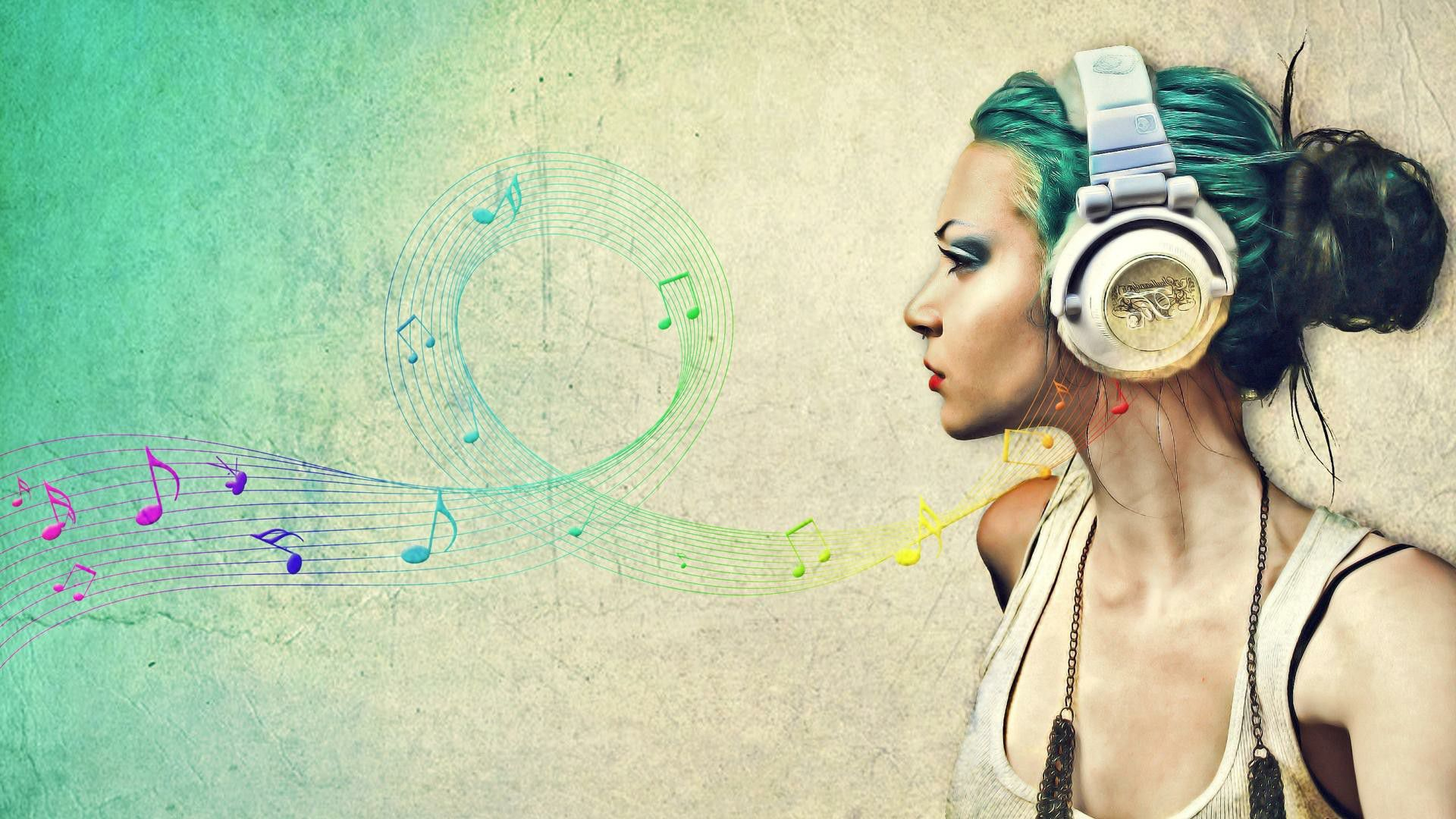 Music Desktop Wallpaper - Girl Listening To Music Drawing , HD Wallpaper & Backgrounds