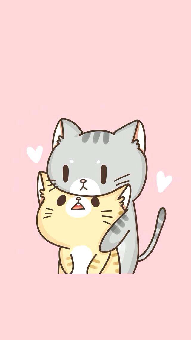 Cat Wallpaper Cute Cats In Love Cat Wallpaper Iphone - Cartoon Cute Cat Couple , HD Wallpaper & Backgrounds