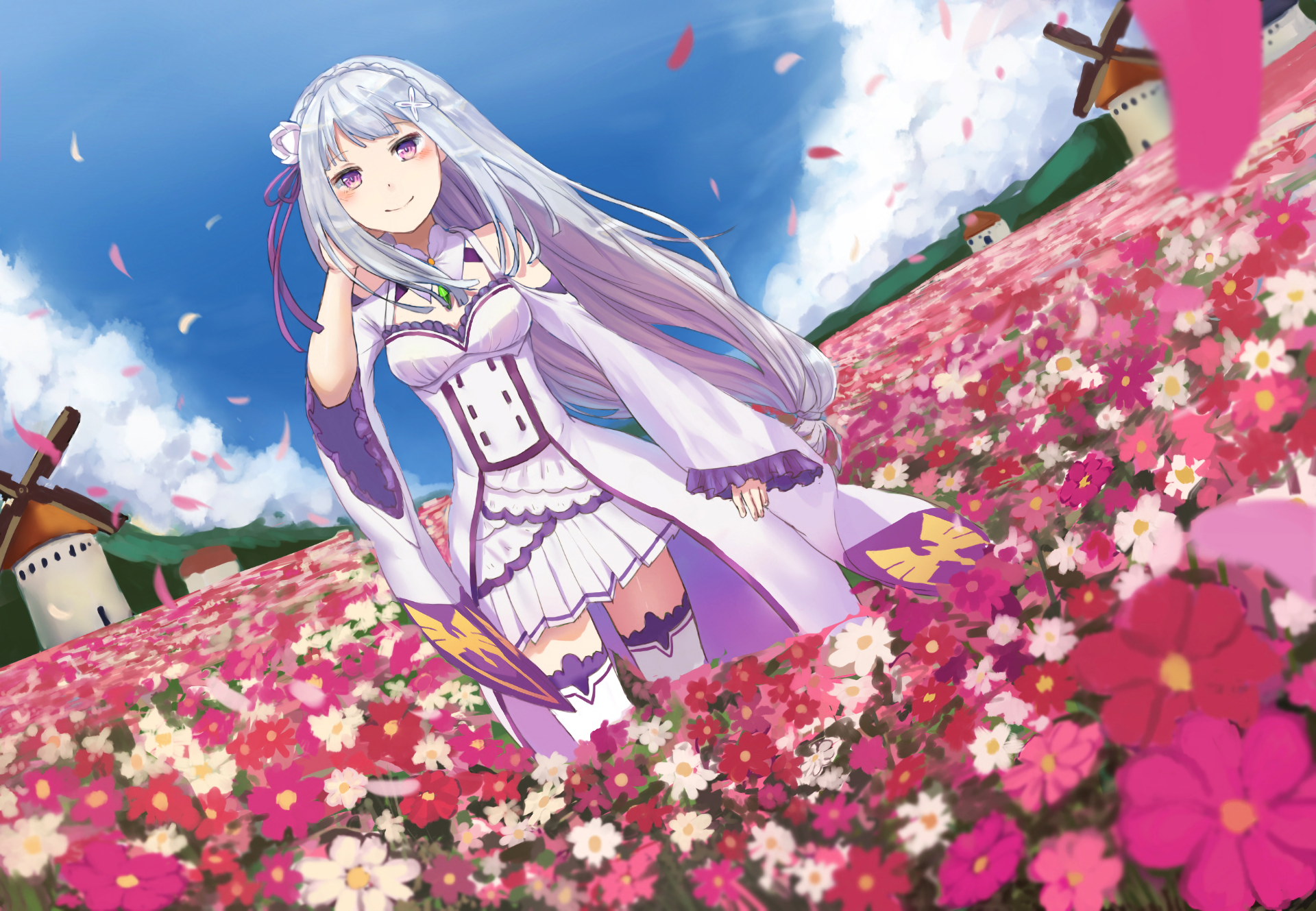 Emt Hd Wallpaper Re Zero Emilia Flower 1181825 Hd Wallpaper
