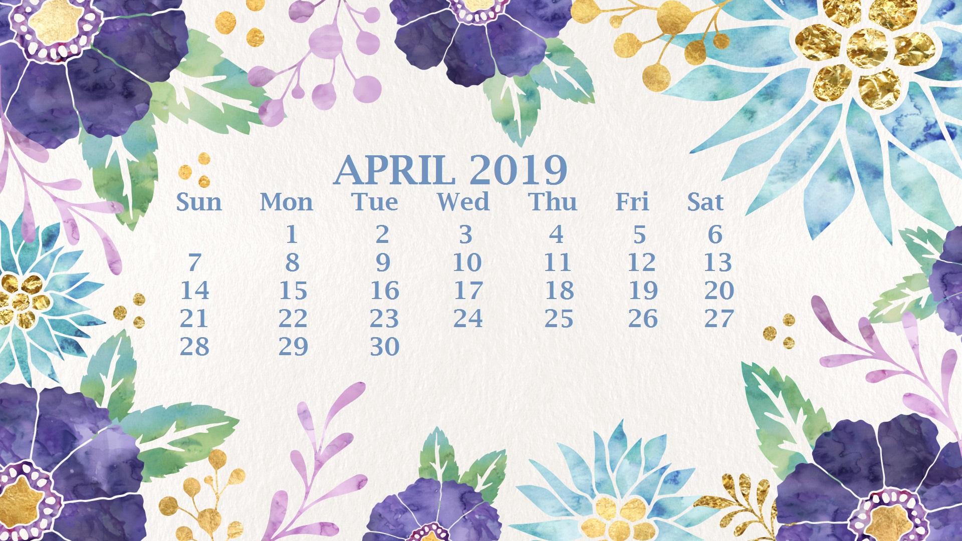 April 2019 Hd Wallpaper Calendar Watercolor April 2019 - April Desktop Wallpaper 2019 , HD Wallpaper & Backgrounds