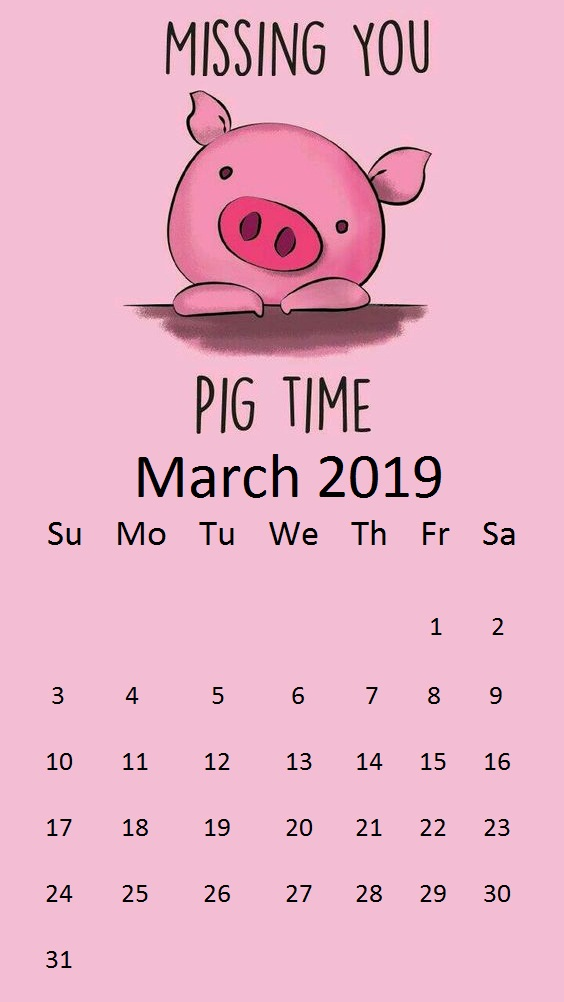 Pizza Queen March 2019 Best Background Pig Day March - March 2019 Calendar Pig , HD Wallpaper & Backgrounds