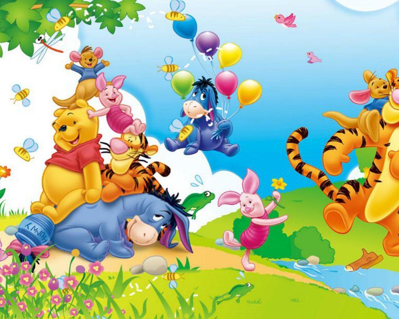 Winnie The Pooh Eeyore Piglet Tigger And Kanga Cartoon Happy