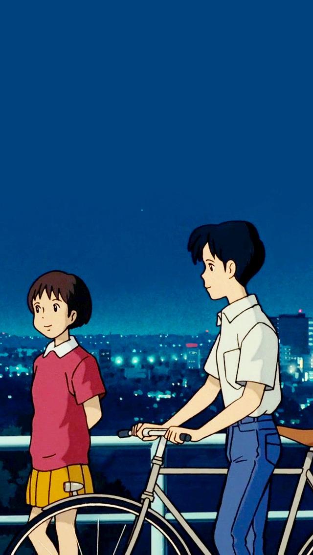 Studio Ghibli Gifs Whisper Of The Heart Phone Wallpapers - Whisper Of The Heart Iphone , HD Wallpaper & Backgrounds