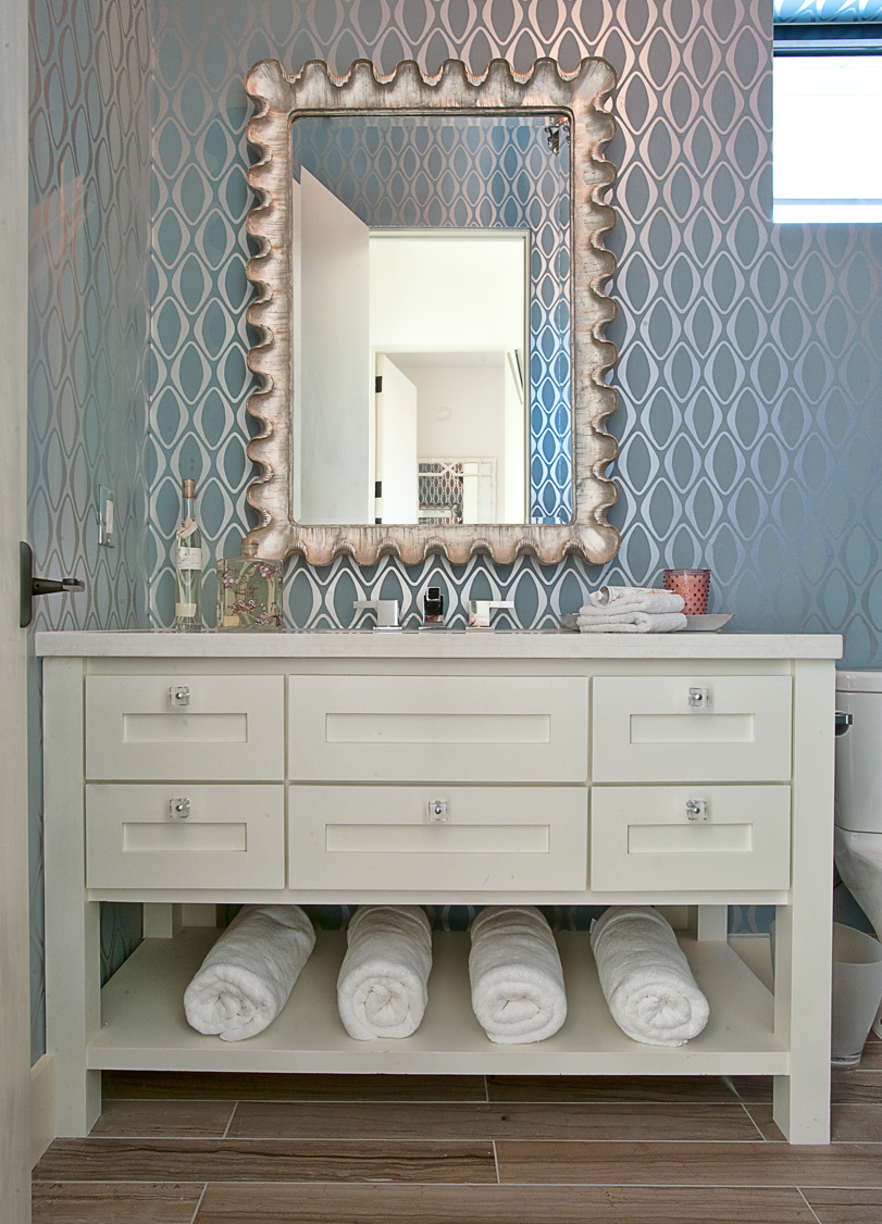 Echo Blue Wallpaper In A Bathroom Courtesy Of Cat Mountain ... Wallpaper Designs For Bathroom on