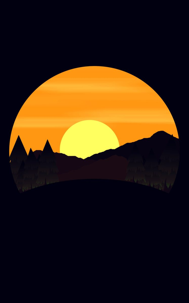 Simple Background, Digital Art, Nature, Landscape, - Sunset , HD Wallpaper & Backgrounds