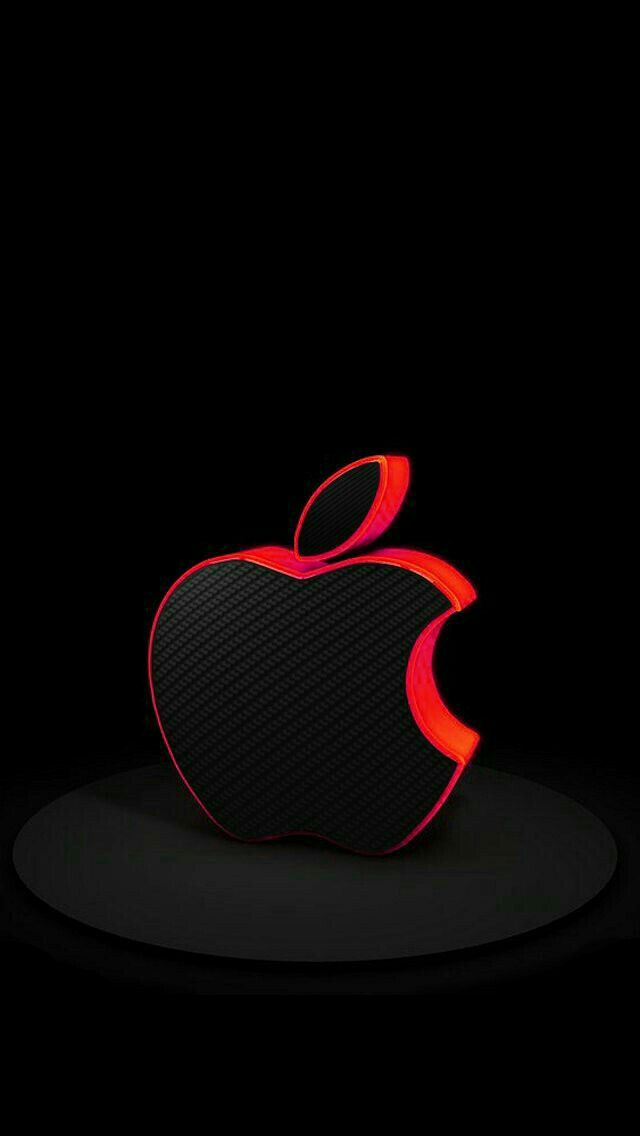 Black With Red Trim Apple On Black Wallpaper - Apple , HD Wallpaper & Backgrounds