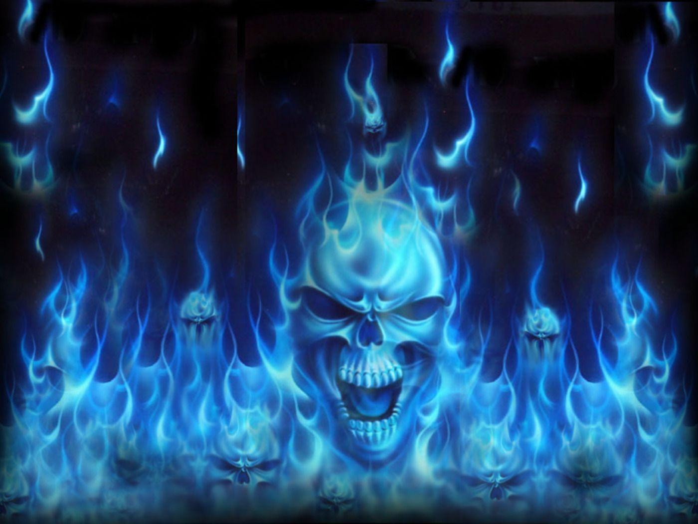 Blue Fire - Blue Skull Background , HD Wallpaper & Backgrounds