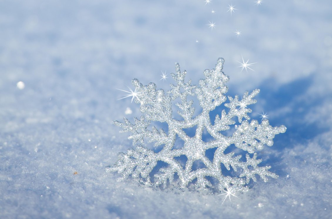 Download Wallpaper 3d Snowflake In The Snow Snowflake