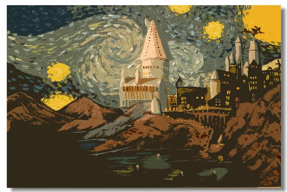 Custom Canvas Wall Painting Hogwarts Starry Night Poster