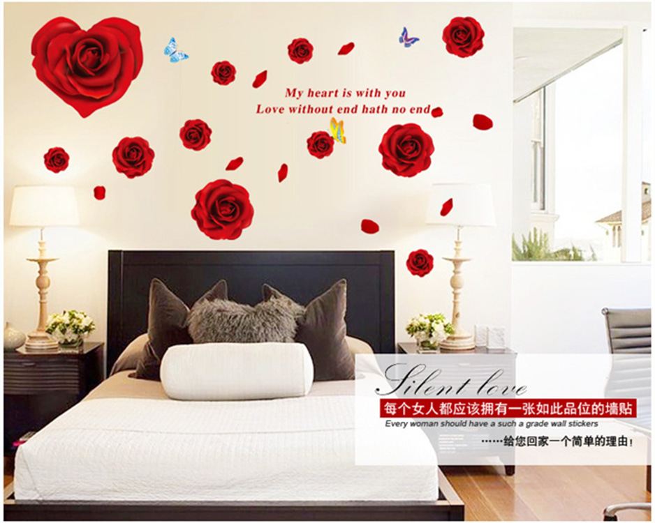 121 1212477 romantic roses wall stickers home decor waterproof red