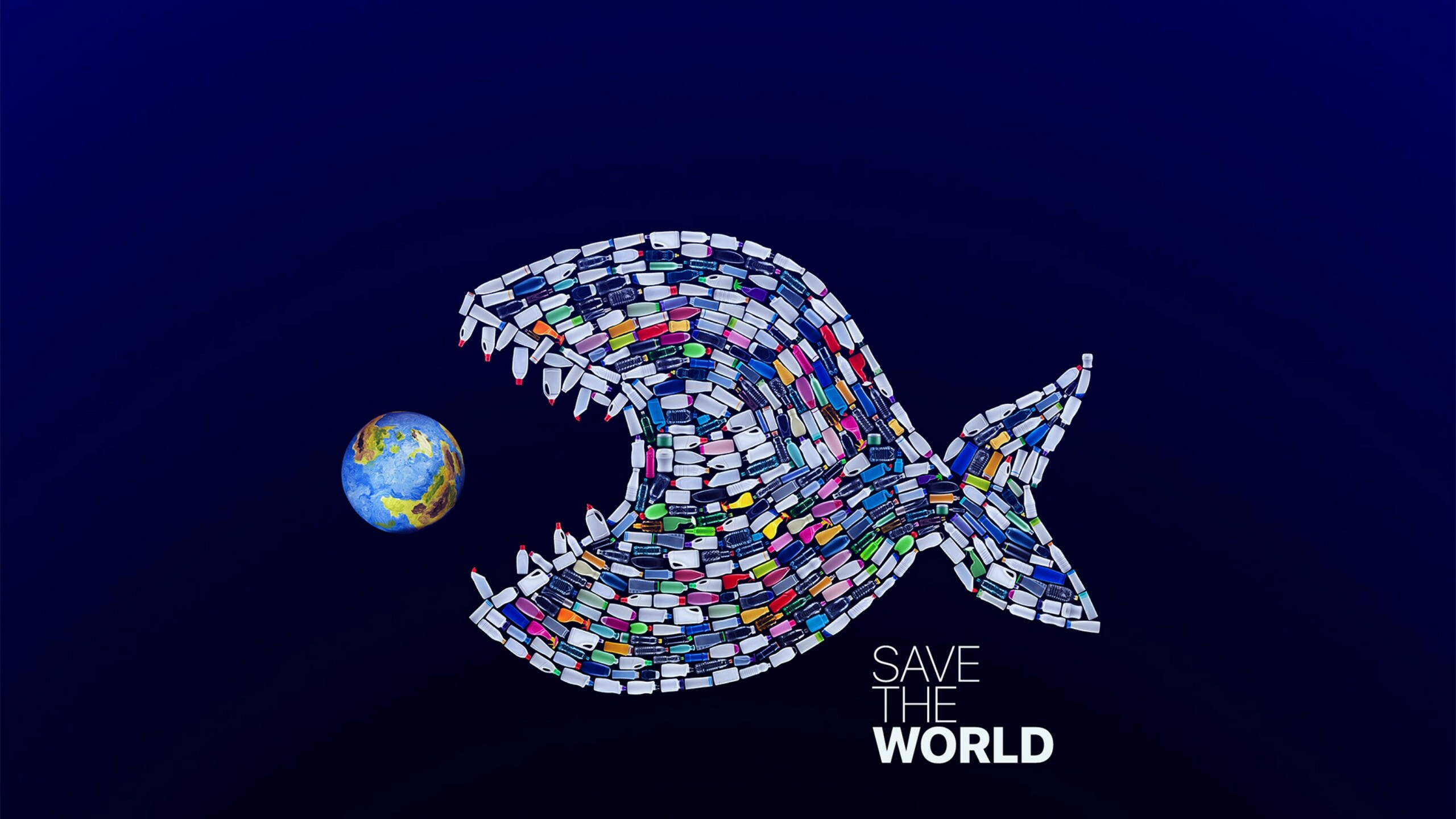 Press The Download Button To Save, Or - Plastic Fish Eating Earth , HD Wallpaper & Backgrounds