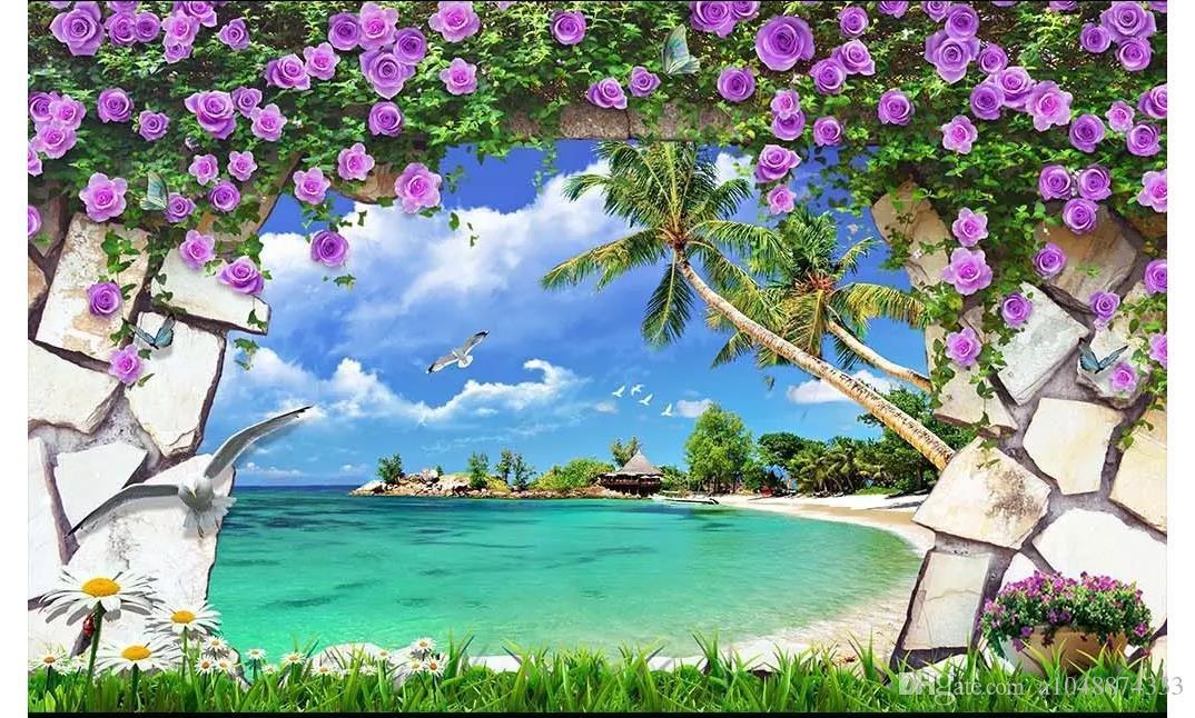 3d Wall Paper Custom Photo Silk Wallpaper Mural Natural - Beautiful Sea , HD Wallpaper & Backgrounds