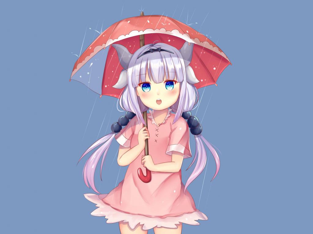Downaload Curious, Kanna Kamui With Umbrella, Kobayashi-san - Anime Girl Wallpaper Iphone 7 , HD Wallpaper & Backgrounds