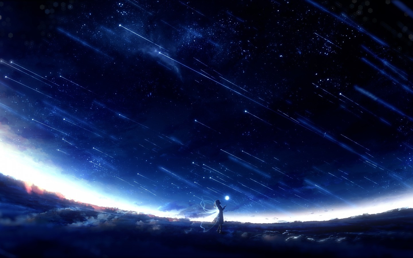 Anime Fairy Girl Wings Beyond The Clouds Falling Art Anime