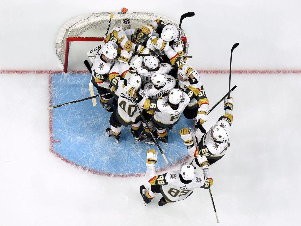 The Las Vegas Golden Knights Celebrating Their Playoff Winnipeg