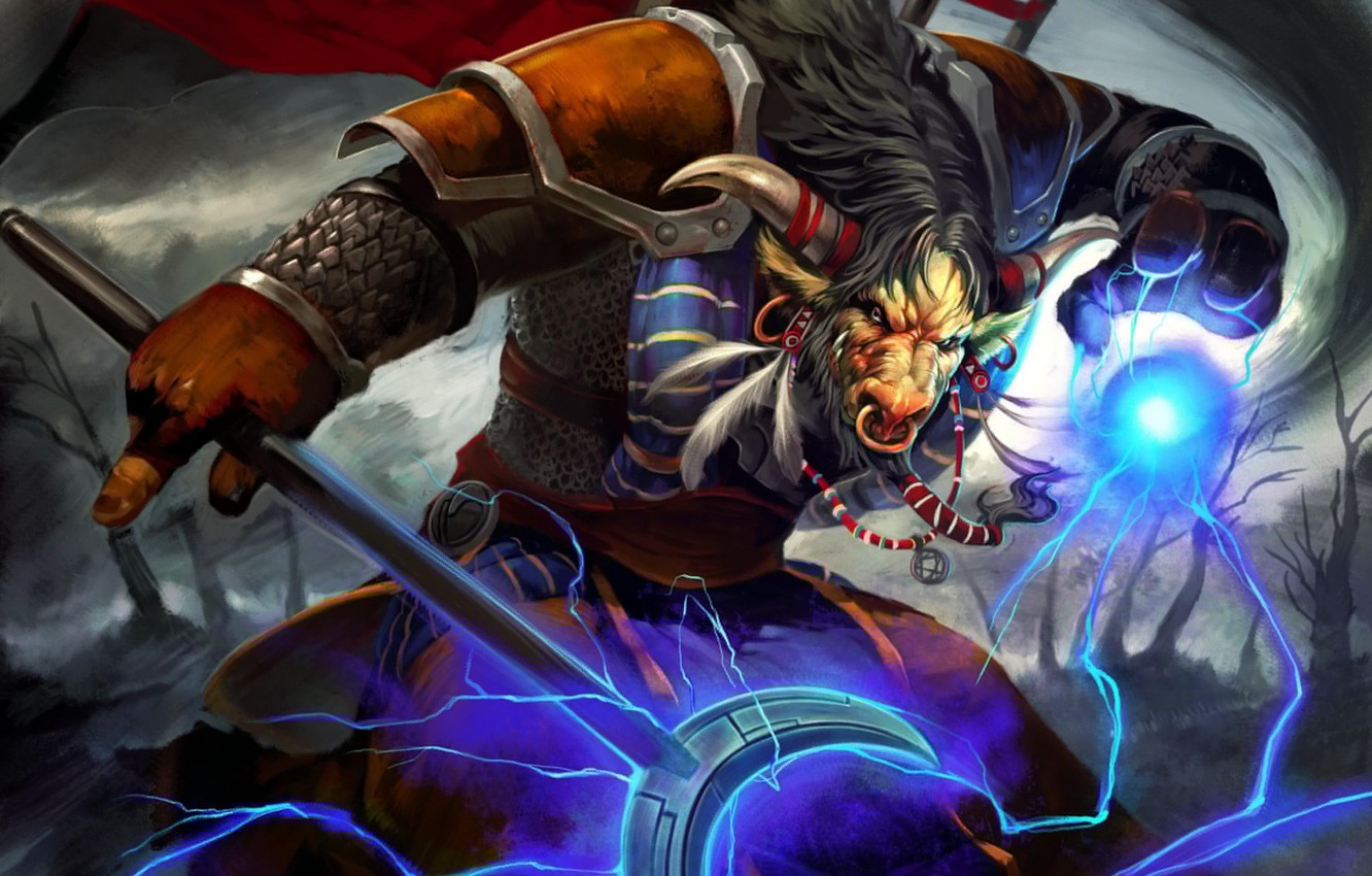 Photo Wallpaper Lightning Wow World Of Warcraft Tauren