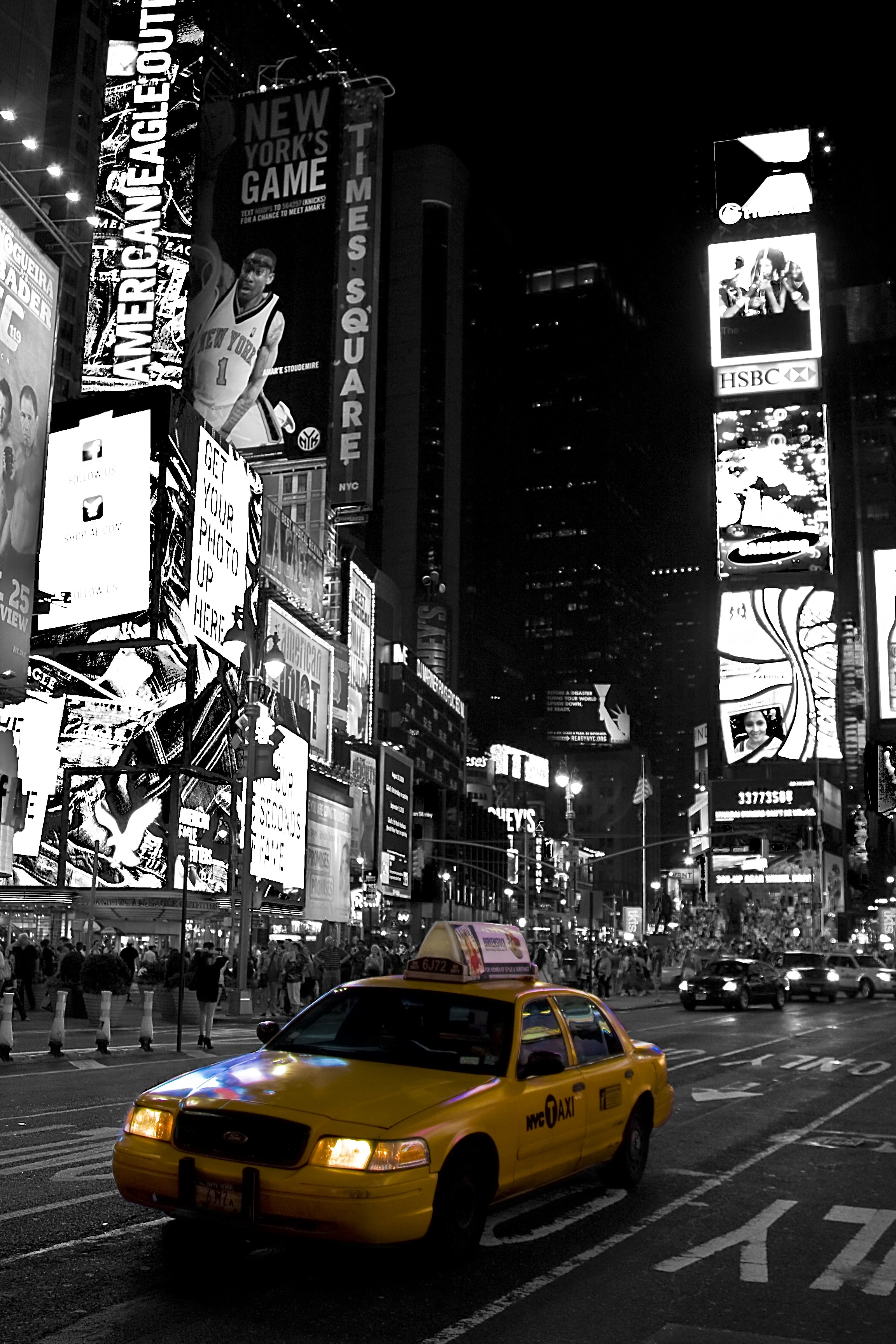 Selective Color Photography Of Taxi In New York Time Square Inc