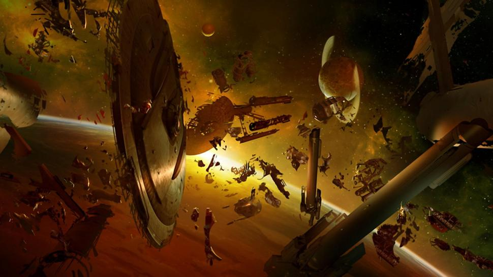 Technics Fantasy Disasters Fantasy Space Wallpaper - Space Battle Debris Field , HD Wallpaper & Backgrounds