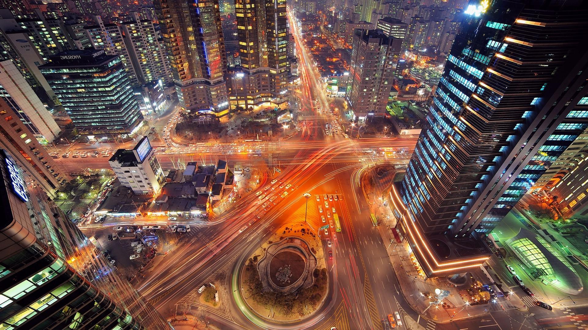 Landscape, Road, Highway, City, Night, Long Exposure, - City Landscape Long Exposure , HD Wallpaper & Backgrounds