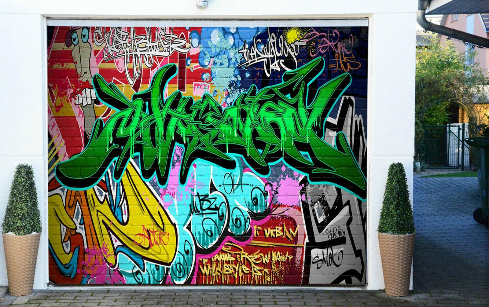 3d Graffiti Font 4 Garage Porta Porta Porta Stampe New