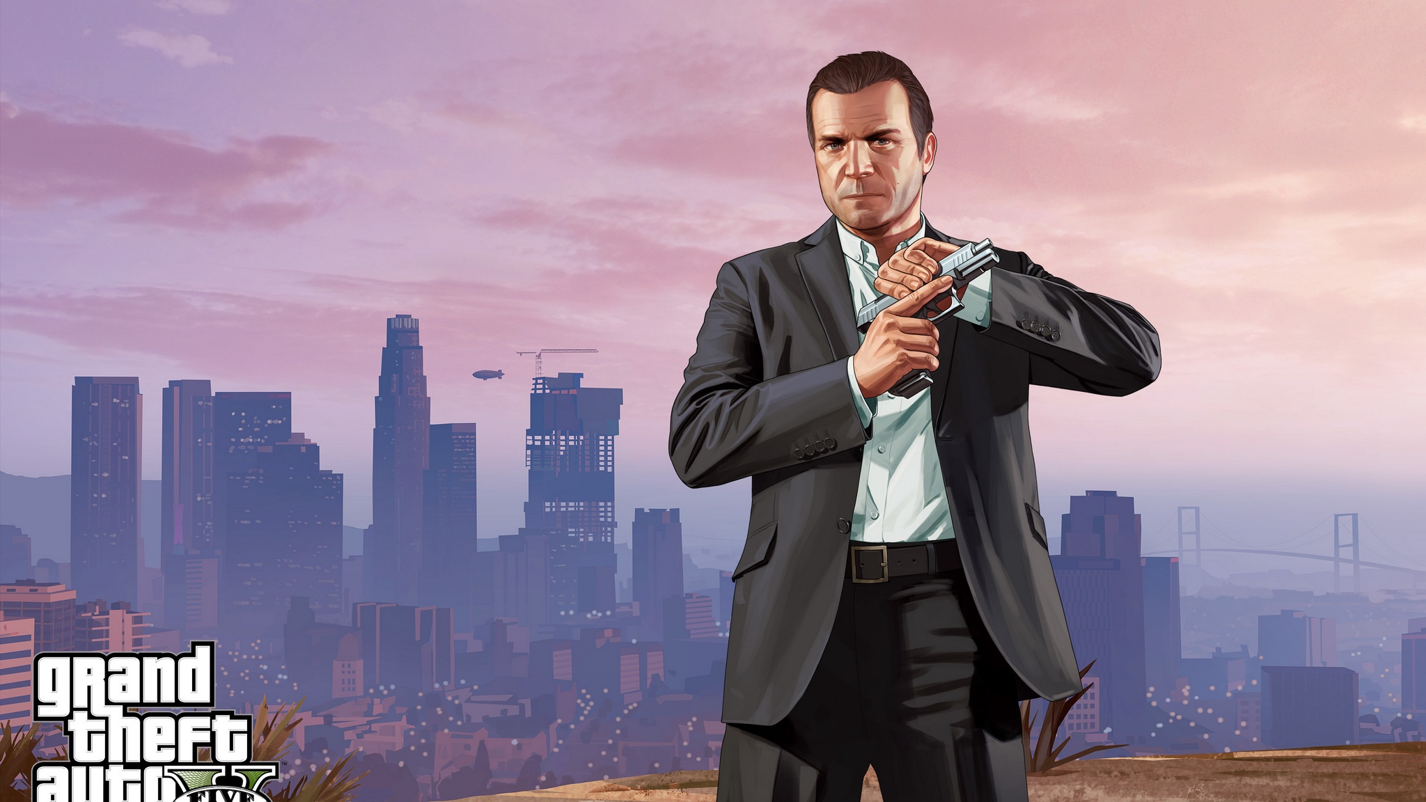 Wallpaper Grand Theft Auto V, Los Santos, Michael, - Michael De Gta 5 , HD Wallpaper & Backgrounds