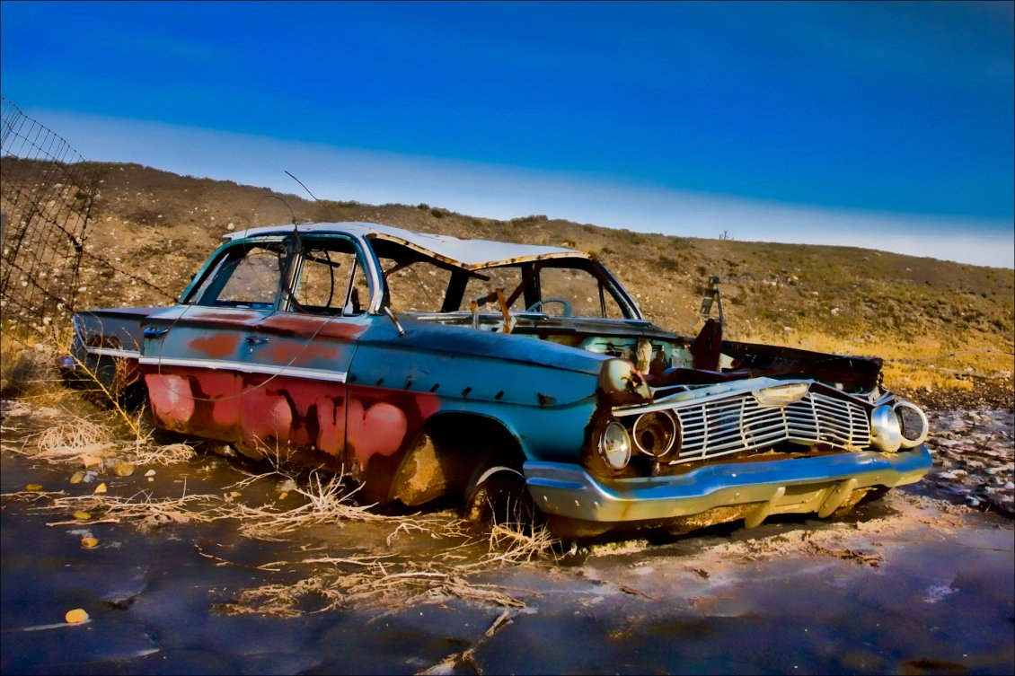 Download Wallpaper Old Car Destroyed On The Road - Broken Down Muscle Car , HD Wallpaper & Backgrounds