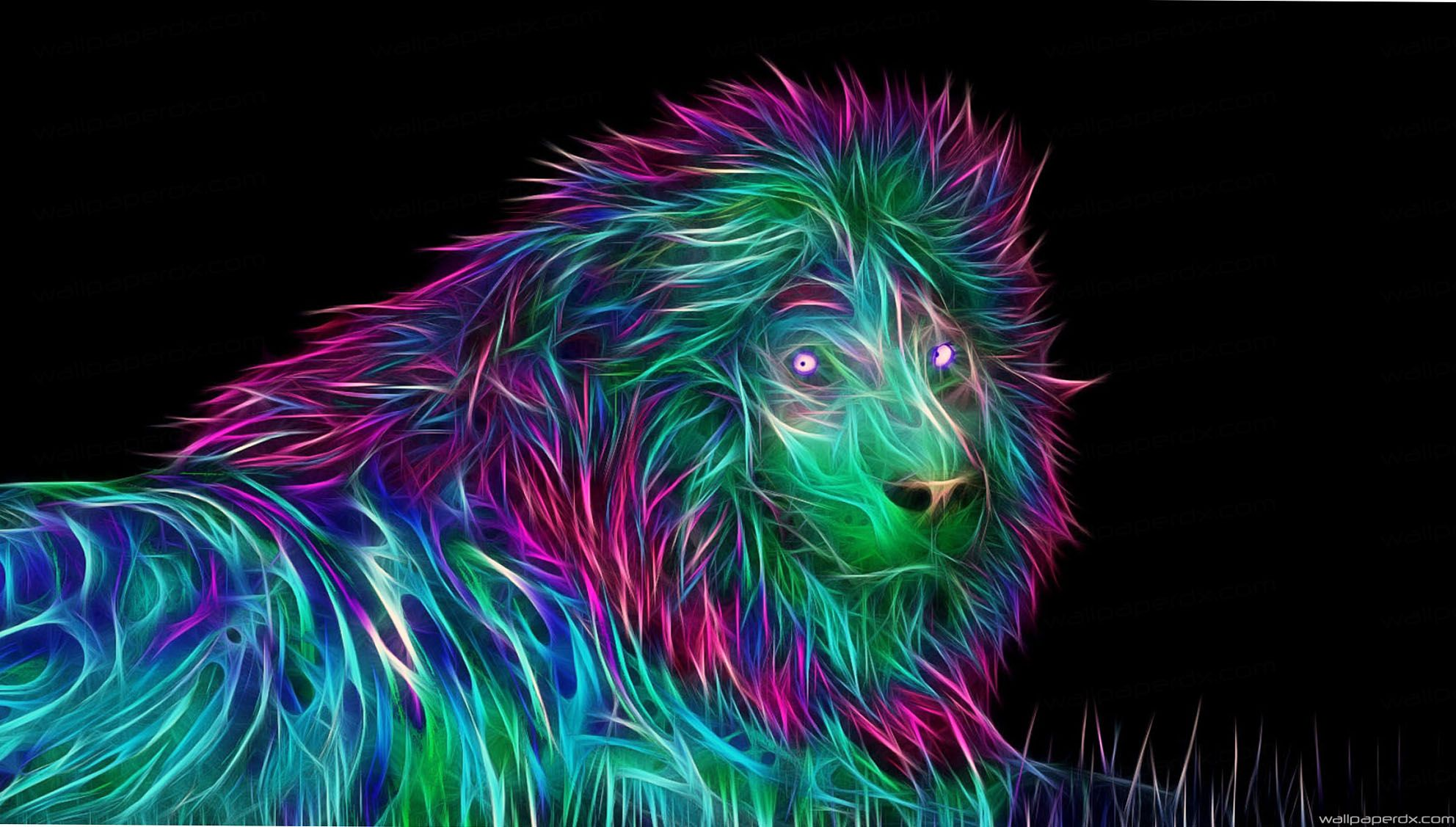 Abstract 3d Abstract Lion Negative Colorful Full Hd - Lion Full Hd 3d , HD Wallpaper & Backgrounds