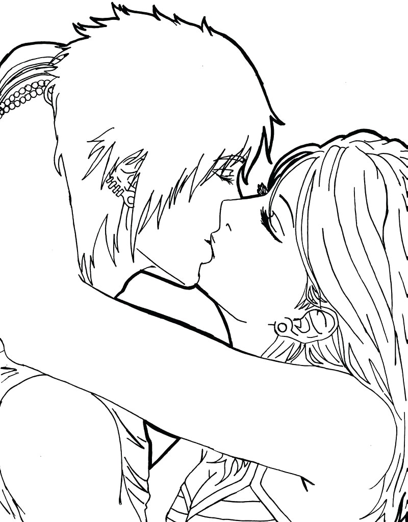 Anime Kissing Coloring Pages Colouring For Funny Last Anime