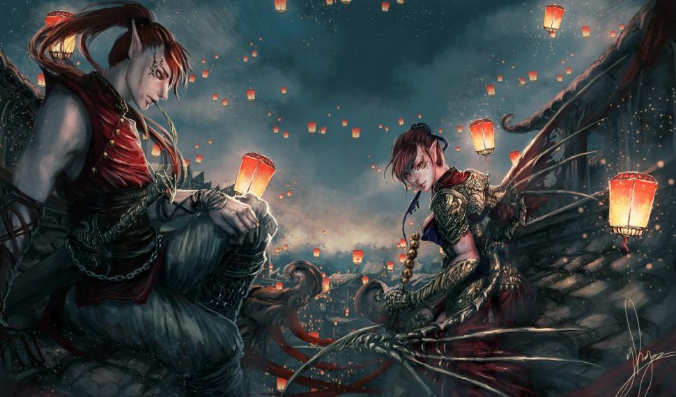 Anime Fantasy Wallpaper - Anime Fantasy Wallpaper Art , HD Wallpaper & Backgrounds