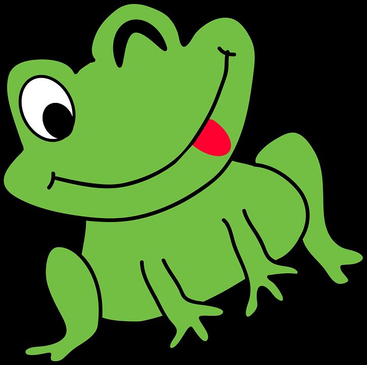 Kartun Katak Lucu Amfibi Kodok Duduk Kebahagiaan