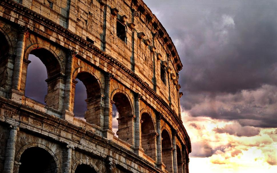 Colosseum Rome Italy Clouds Dusk Wallpaper Colosseum
