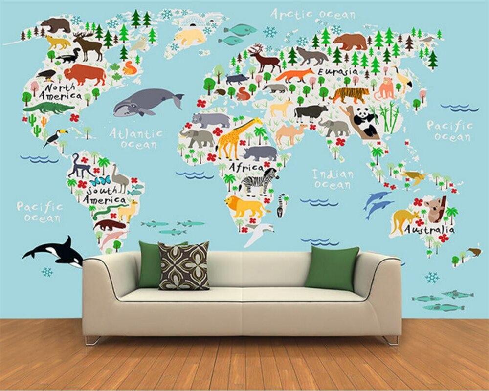 130 1305293 beibehang custom photo wallpaper 3d cartoon world map