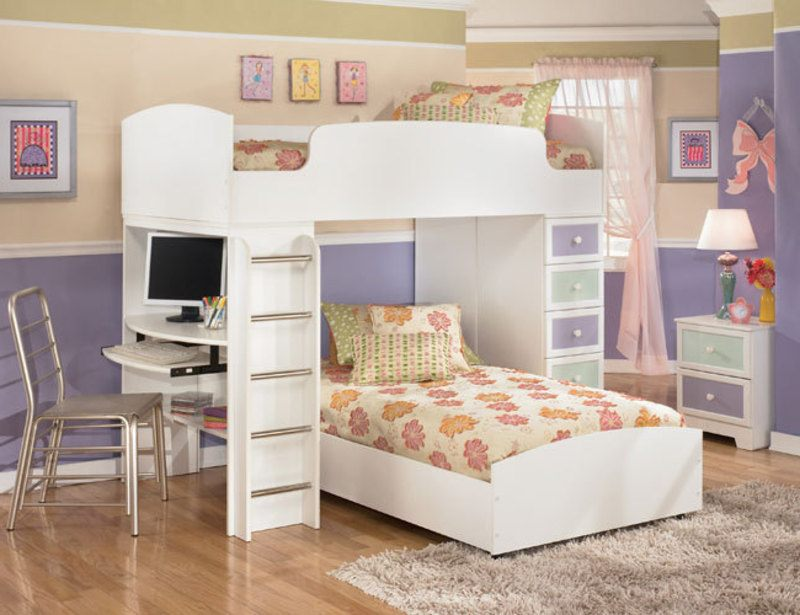 Bedroom Furniture For Kids Open Book Shelf Beneath - Twin ...