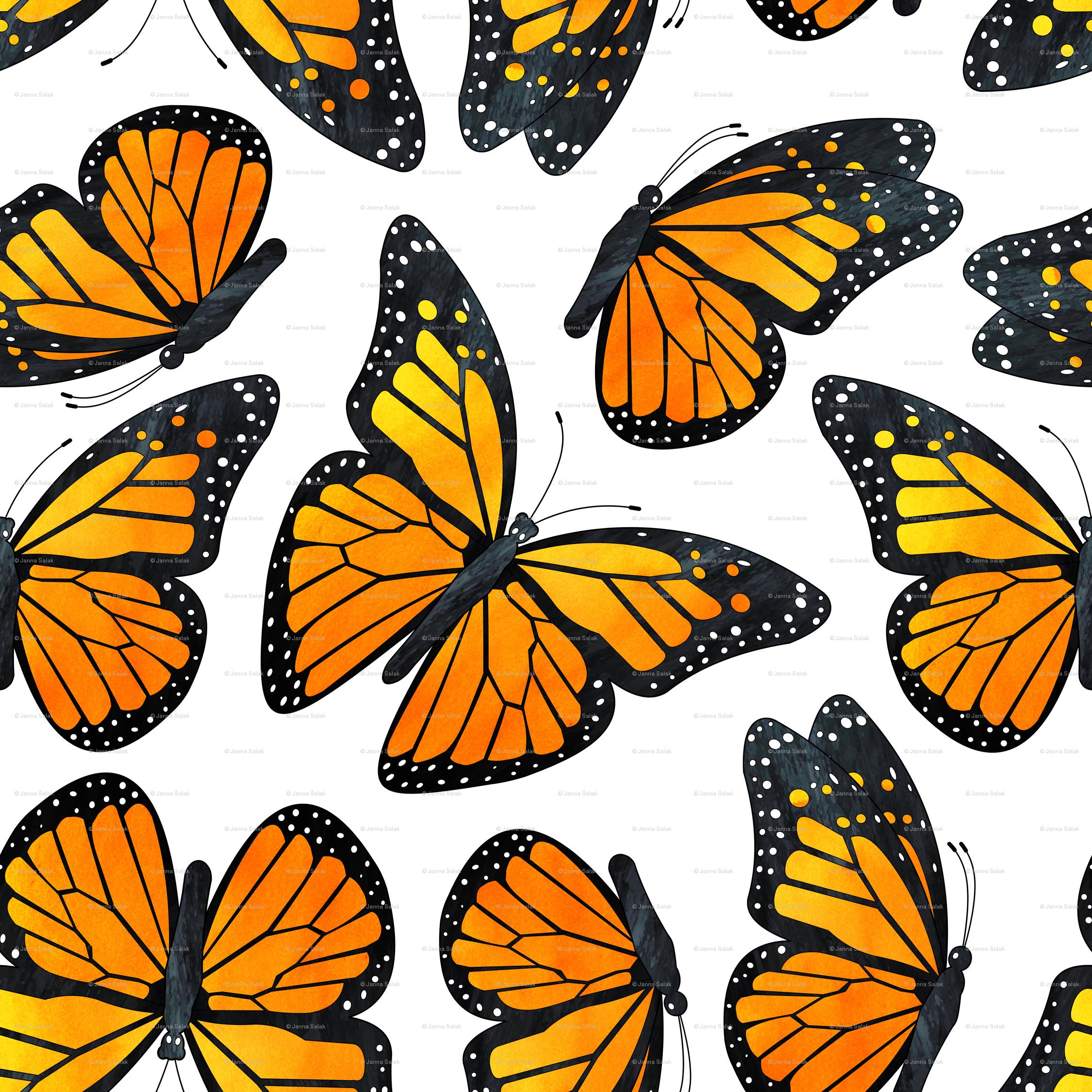 Monarch Butterfly Watercolor Pattern Wallpaper - Repeat Pattern With Butterfly , HD Wallpaper & Backgrounds
