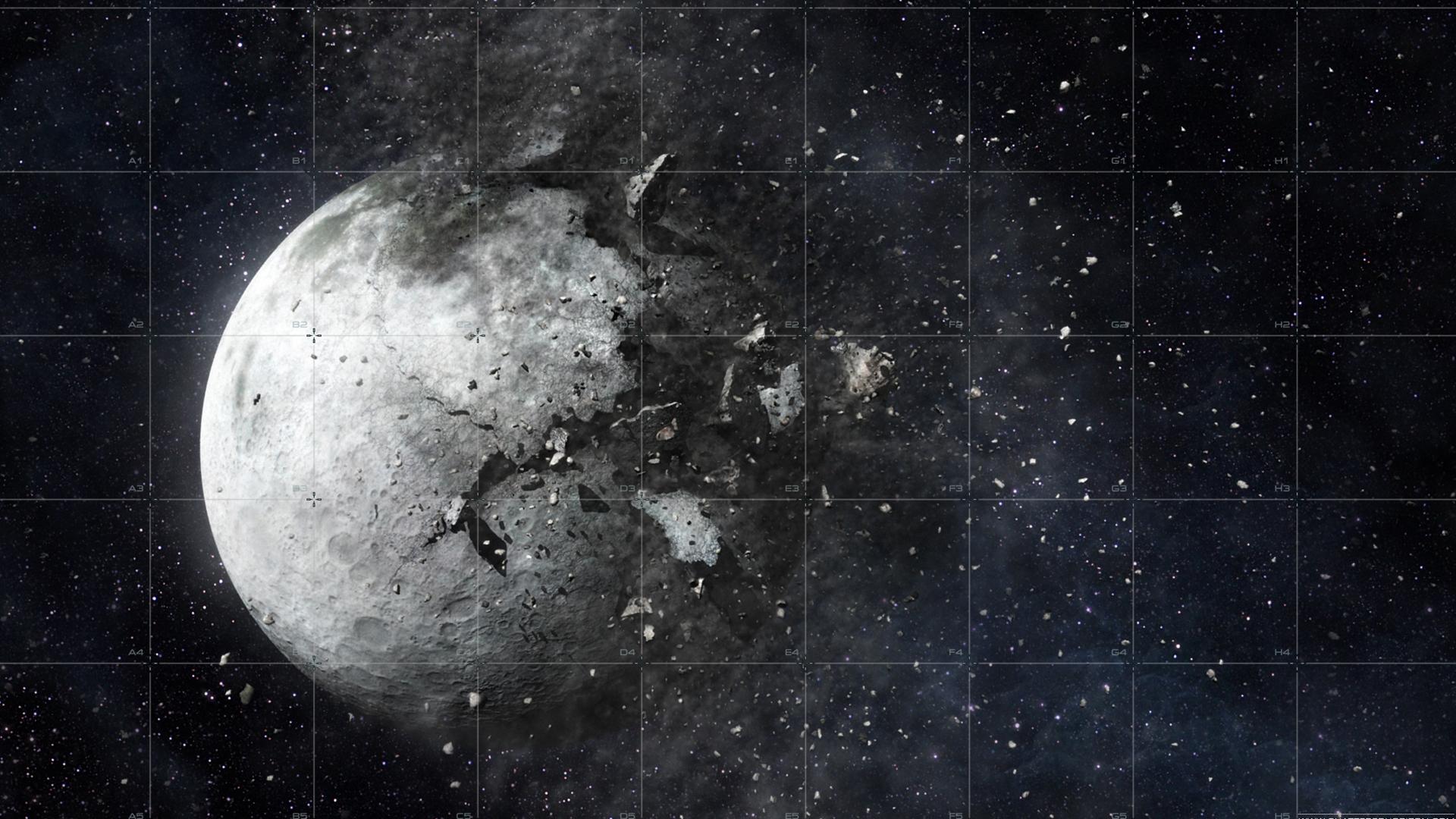 Full Hd Wallpaper Planet Destroy Debris Art Scattering - Destroy The Moon , HD Wallpaper & Backgrounds