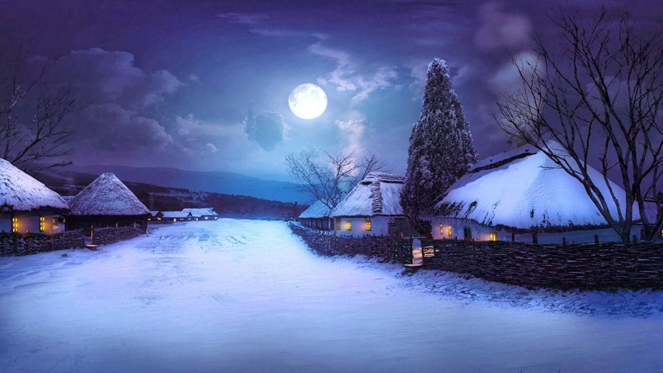 A Yule Procession By Allen Hartley - Winter Night Sky With Moon , HD Wallpaper & Backgrounds