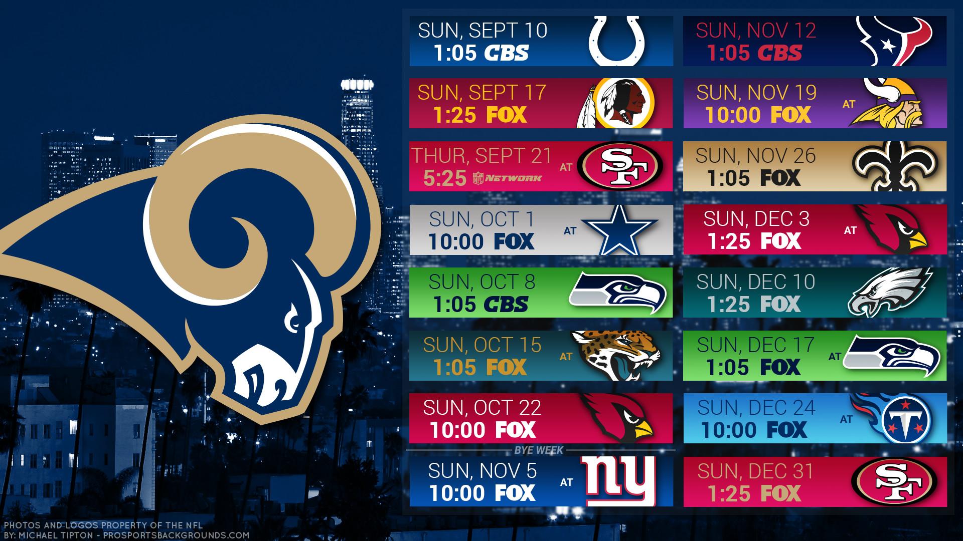 Los Angeles Rams 2017 Schedule City Football Logo Wallpaper - La Rams 2018 Schedule Printable , HD Wallpaper & Backgrounds