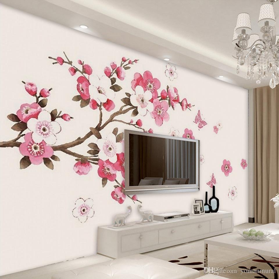 Wall Color For Tv Background Best Of 3d Stereo Wallpaper Sakura Flower 1344142 Hd Wallpaper Backgrounds Download