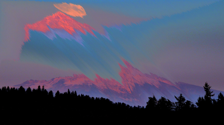 Glitch Art Of Mount Fuji Wallpaper - Mount Shasta Full Moon , HD Wallpaper & Backgrounds