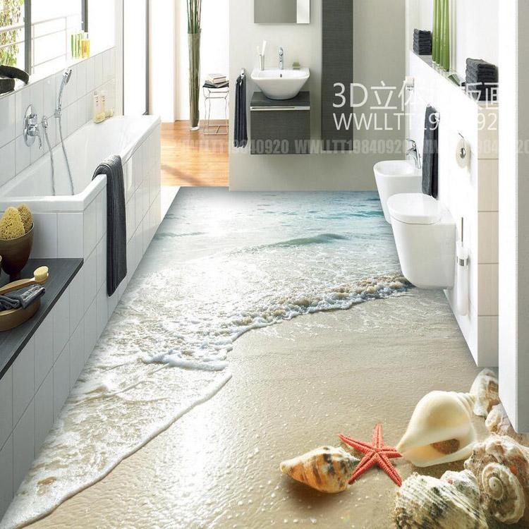 Hight Quality 3d Floor Wallpaper Shell Beach Design 3d Kitchen