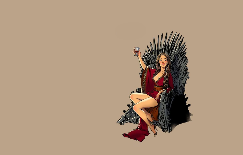 Обои background, tv series, daenerys targaryen, vintage, Game of thrones, minimalism, pinup models, Pinup, dragon, fantasy. Минимализм foto 14