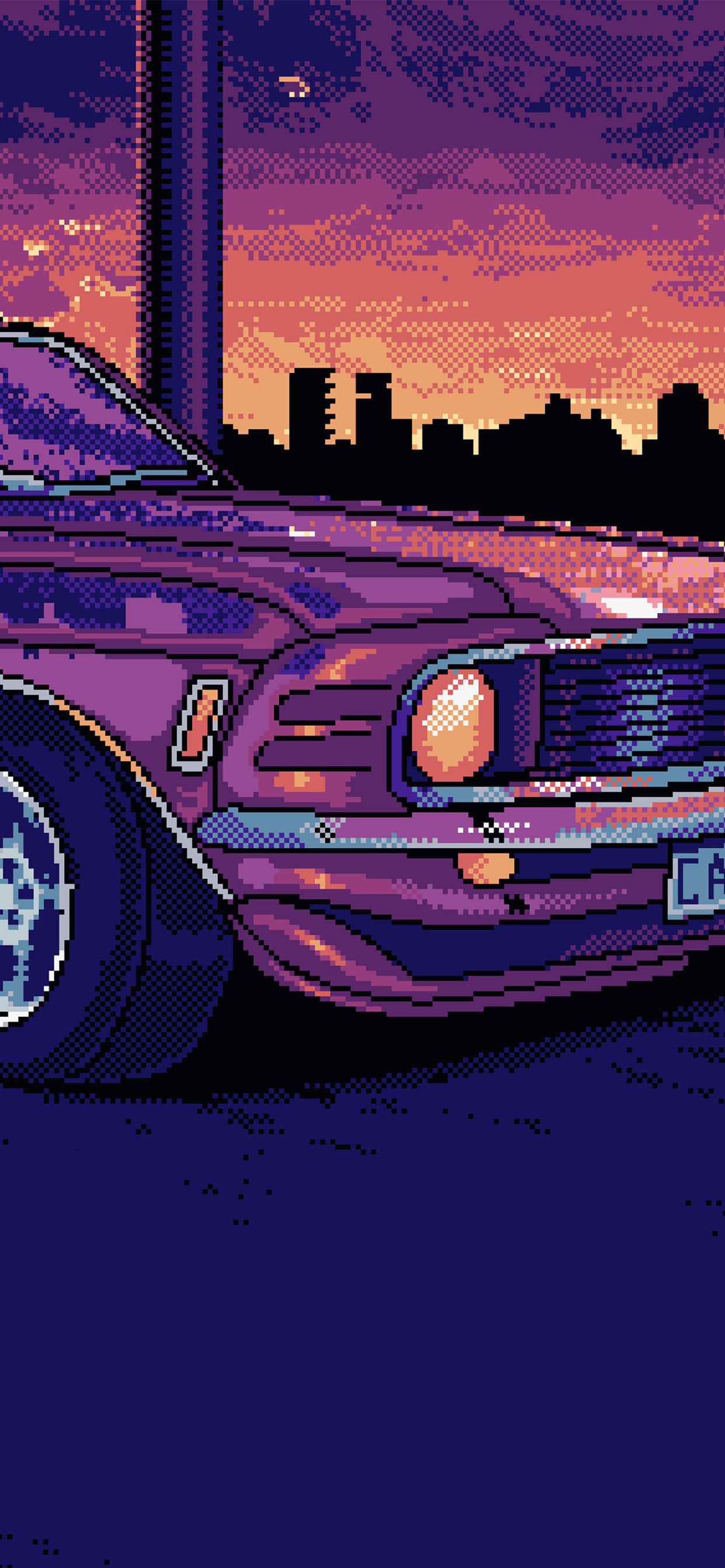 8 Bit Mustang Iphone Xs Max Hd 4k Wallpapers Images - Car Night Anime Gif , HD Wallpaper & Backgrounds