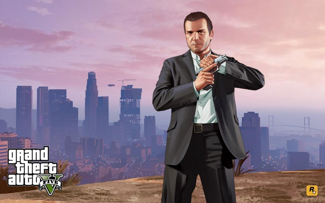 Grand Theft Auto V Los Santos Michael Art - Gta 5 Michael , HD Wallpaper & Backgrounds