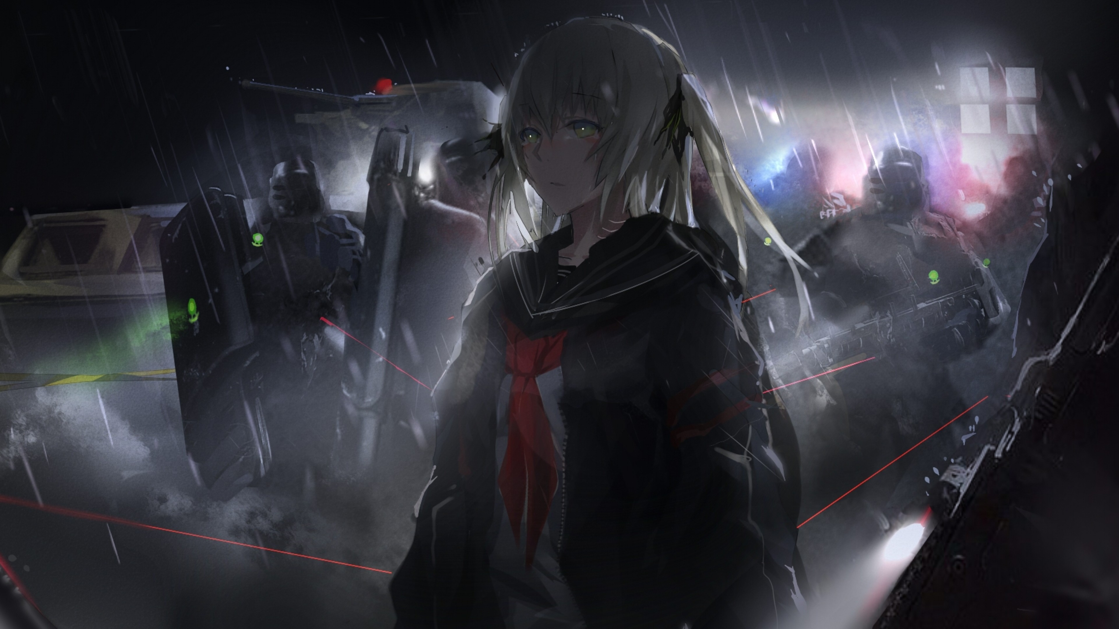 Anime Girl Soldiers Raining Dark Theme Guns Anime